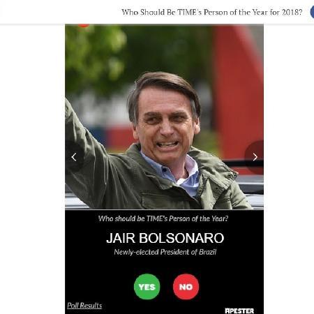 Jair Bolsonaro em enquete no site da revista Time - Reprodução