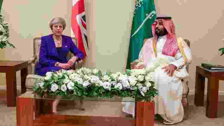 O príncipe Mohammed bin Salman em encontro com a premiê britânica Theresa May na cúpula do G20, em Buenos Aires - REUTERS