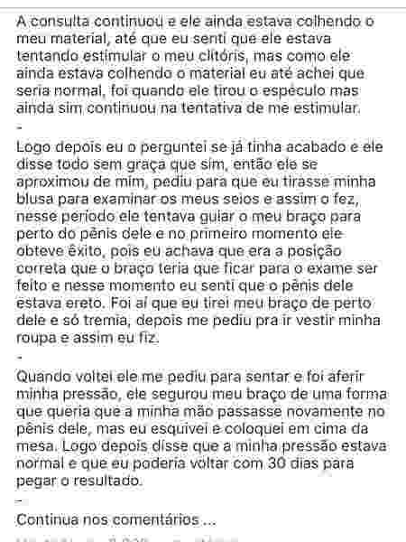 Relato de vítima de assédio sexual feito supostamente por médico na Bahia - Reprodução/Instagram/diganaovca