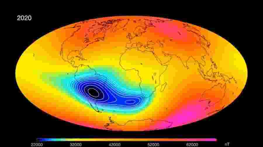 Nova formatação do Campo magnético na América do Sul, segundo a ESA - Divulgação/Agência Espacial Europeia