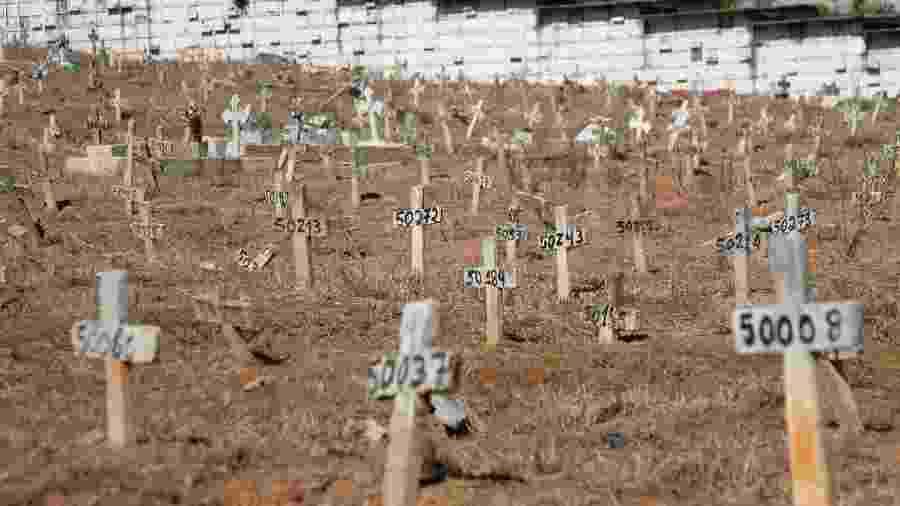 Área destinada a sepultamentos de vítimas da covid-19 no cemitério São Francisco Xavier, na zona norte do Rio - Ellan Lustosa - 1º.jun.2020 /Código19/Estadão Conteúdo