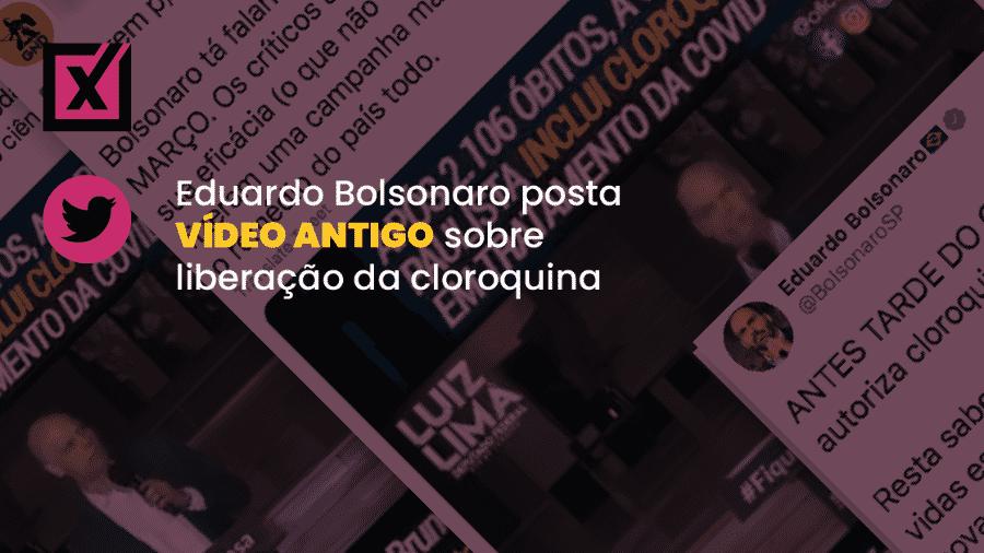 Tuíte do deputado federal Eduardo Bolsonaro (PSL-SP) usa vídeo do prefeito de São Paulo, Bruno Covas (PSDB), anunciando a inclusão da cloroquina no protocolo de tratamento de pacientes com covid-19 nos hospitais municipais. - Arte/UOL