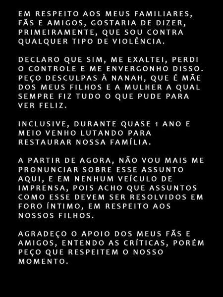 Post do cantor Rodriguinho sobre acusações da ex-mulher de que ele a teria agredido - Reprodução/Instagram