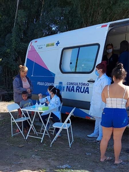 Equipes de Saúde na Praia Grande atenderam 38 famílias em comunidade no litoral paulista - Divulgação