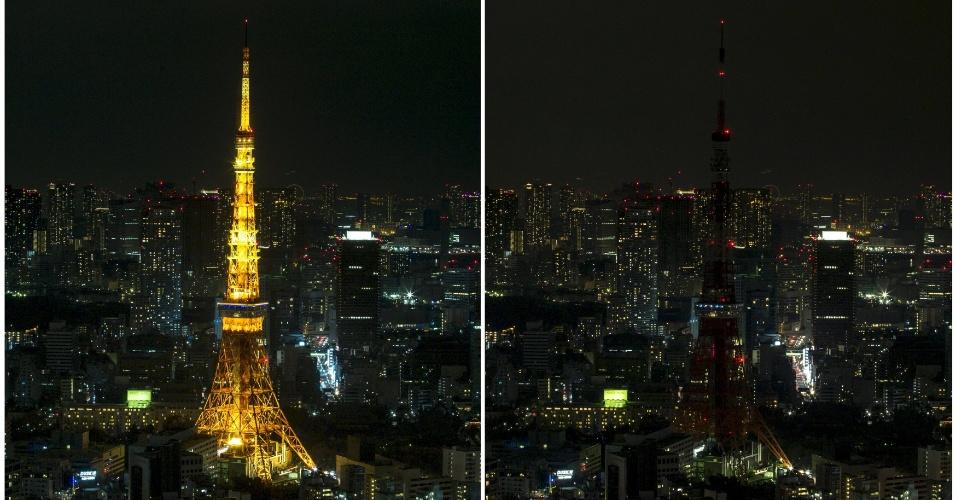 19.mar.2016 - No Japão, a Tokyo Tower, no centro de Tóquio, foi apagada durante a Hora do Planeta, que está em sua 10ª edição. Mais de 150 países participaram da ação da organização WWF neste ano