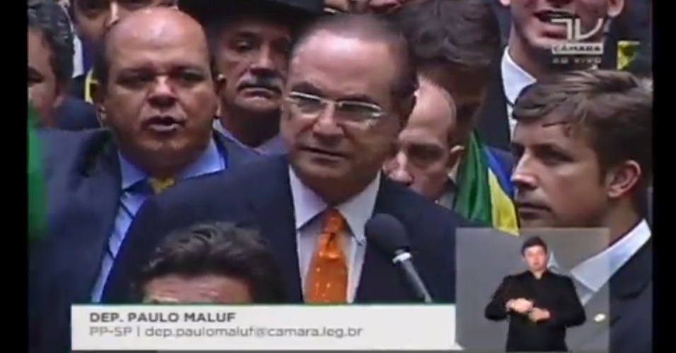 17.abr.2016 - O deputado Paulo Maluf (PP-SP) votou a favor do impeachment da presidente Dilma Rousseff