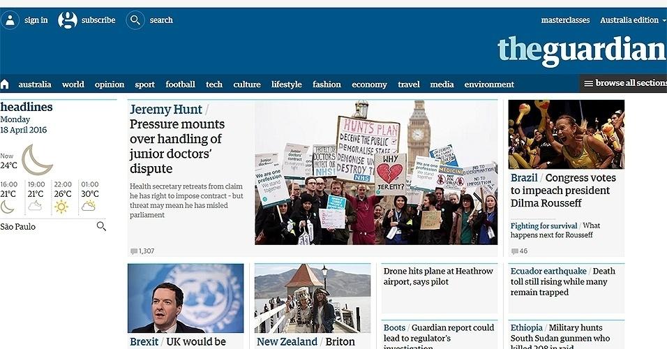 """17.abr.2016 - O jornal britânico """"The Guardian"""" destacou o impeachment de Dilma, explicando passo a passo o processo político no país e quais as consequências da votação na Câmara"""