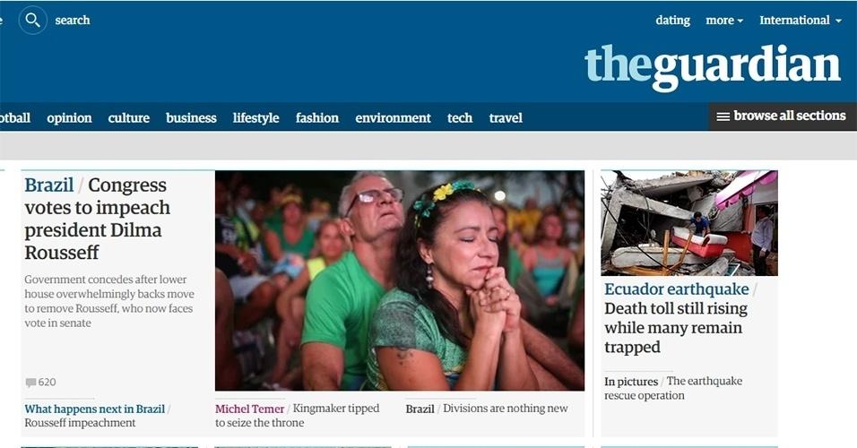 """18.abr.2016  - O jornal britânico """"The Guardian"""" destacou a derrota """"esmagadora"""" sofrida pela presidente Dilma Rousseff na votação do impeachment"""