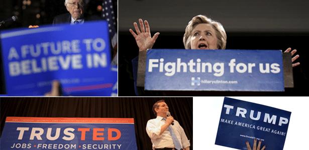 Compare os slogans dos principais pré-candidatos dos EUA - Arte UOL