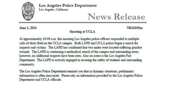 Dois morrem em tiroteio na UCLA, em Los Angeles - 01/06/2016
