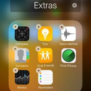 Tela mostra apps nativos do iOS que poderão ser removidas
