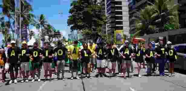 26.mar.2017 - A manifestação em Recife ocorreu na orla da praia de Boa Viagem  - Jammerson Santana/Estadão Conteúdo - Jammerson Santana/Estadão Conteúdo