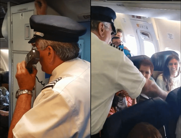 Piloto anuncia feito (esq.) e entrega dinheiro e champanhe para sua 1.000.000ª passageira (dir.)