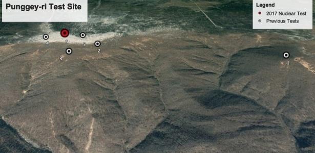 Imagem do Google Earth do Monte Mantap, na Coreia do Norte, mostra os locais dos seis testes nucleares do país. Em vermelho, o local do maior deles