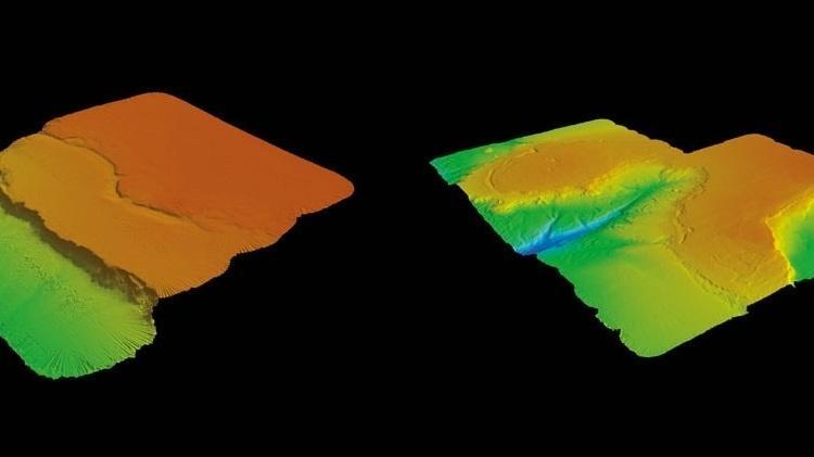 O alto da montanha: Os degraus dos terraços marinhos (à esq.) poderiam resultar da erosão costeira e o cânion (à dir.) de antigos rios, no topo do Rio Grande, entre 600 e 800 metros de profundidade - Raylla Souza Silva/IO-USP
