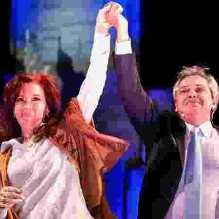 Cristina e o candidato à presidência Alberto Fernández, de quem é vice - HO / FRENTE DE TODOS / AFP