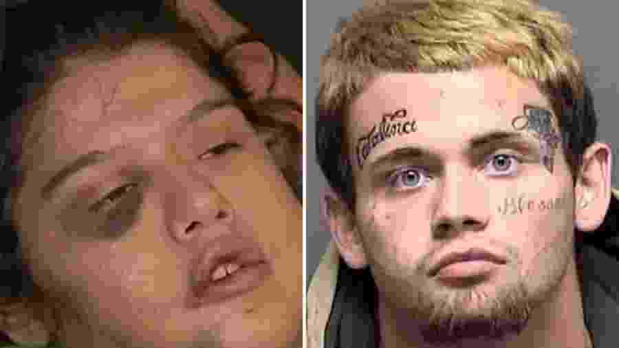 """Catalina Mireles (à esquerda) teve a testa """"tatuada"""" com a palavra Jack pelo próprio namorado (à direita) - Reprodução/KSAT - Divulgação/Bexar County Sheriff""""s Office"""