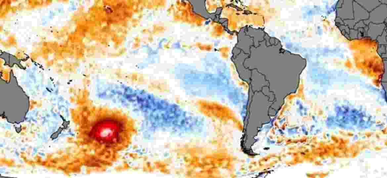 A mancha de água quente foi identificada por imagens de satélite. Ela é do tamanho de mais da metade do México - CLIMATEREANALYZER