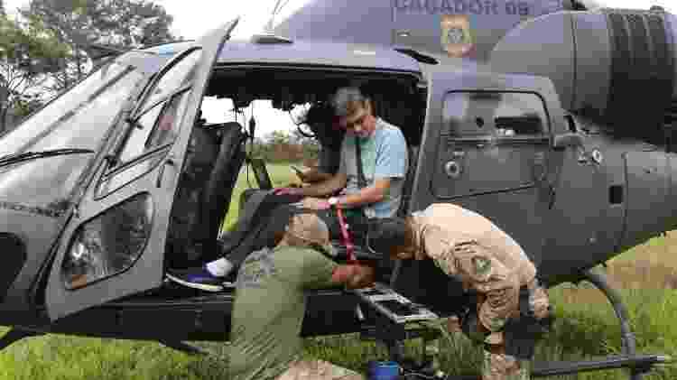 Pesquisadores da UNB sobrevoaram no helicóptero da PF o rio Paraopeba, que foi atingido pelo rompimento da barragem de Brumadinho - Divulgação/UNB/AquaSense