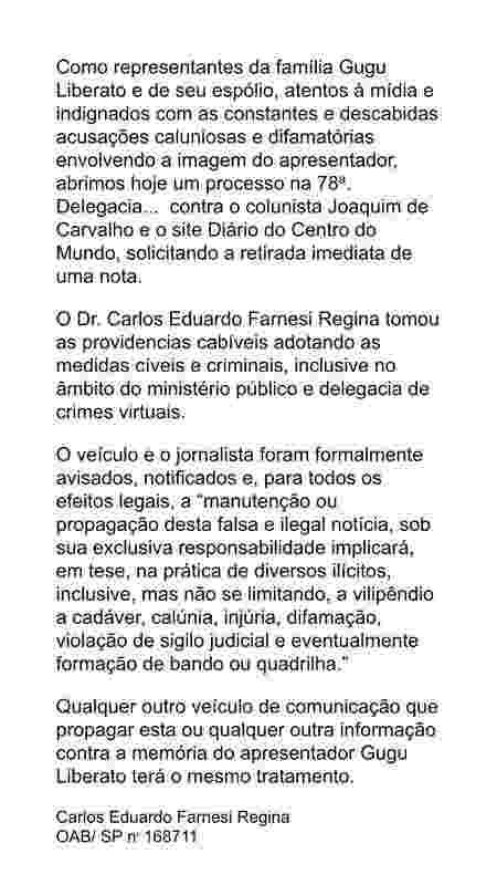Nota emitida pela assessora do advogado Carlos Alberto Farnesi Regina - Reprodução