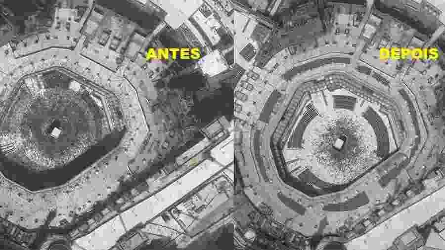 Satélite da Maxar sobre a Mecca antes e depois do surto de coronavírus - Maxar Technologies/Via Reuters