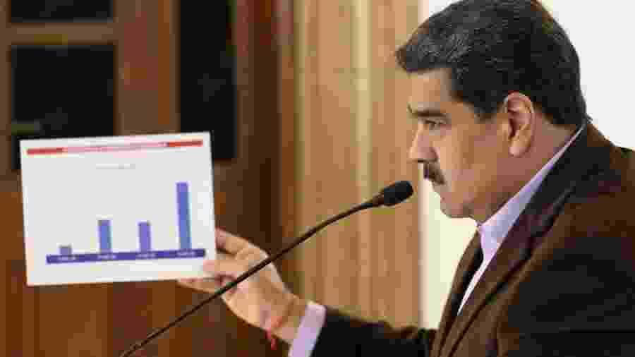 17.mar.2020 - Nicolás Maduro falando sobre o coronavírus à TV de Caracas - Presidência da Venezuela/Xinhua