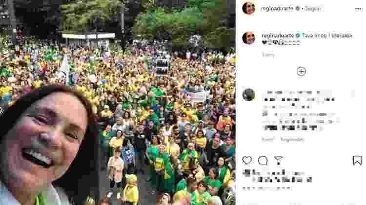 Redes sociais da atriz têm várias publicações favoráveis ao governo, como convocações para manifestações - Reprodução/Instagram - Reprodução/Instagram