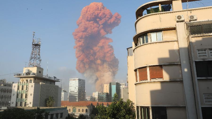 Explosão atingiu área portuária de Beirute, agosto de 2020 - Anwar Amro/AFP