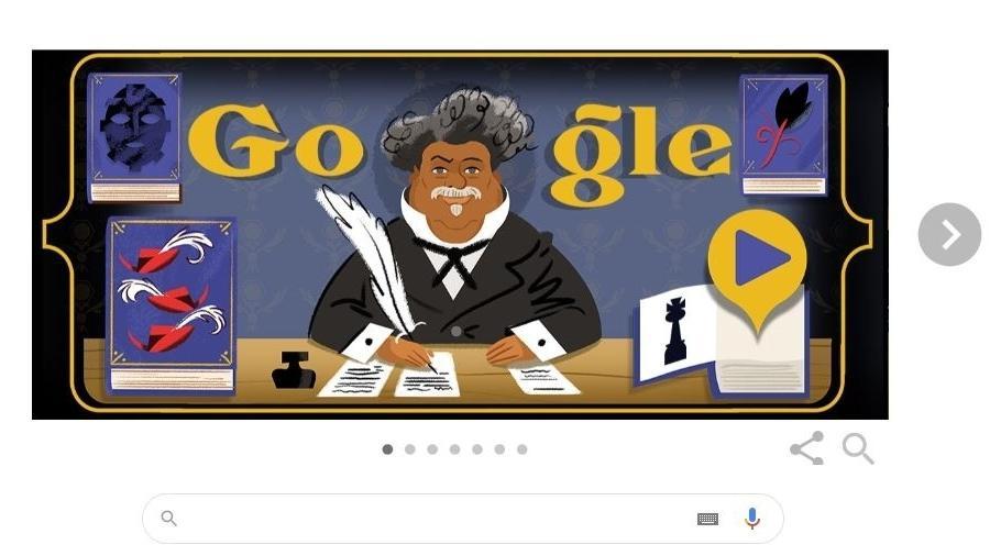 Alexandre Dumas é o homenageado desta sexta pelo Google - Reprodução
