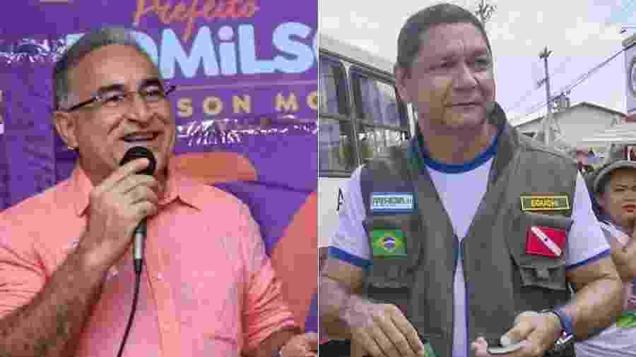 Os candidatos Edmilson Rodrigues (PSOL) e Delegado Eguchi (Patriota), que disputam a Prefeitura de Belém - Divulgação/Arte UOL
