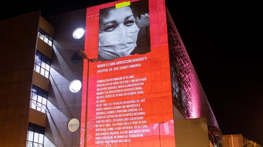 Coletivo Coletores realizou diversas projeções em endereços públicos de saúde da zona leste de São Paulo - Luan Batista