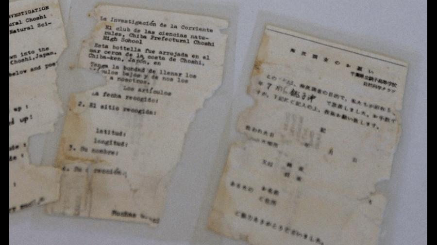 Mensagem encontrada em garrafa jogada ao mar há 37 anos. Objeto lançado no Japão foi achado no Havaí - Mainichi / Takashi Kondo/Prefeitura de Chosi