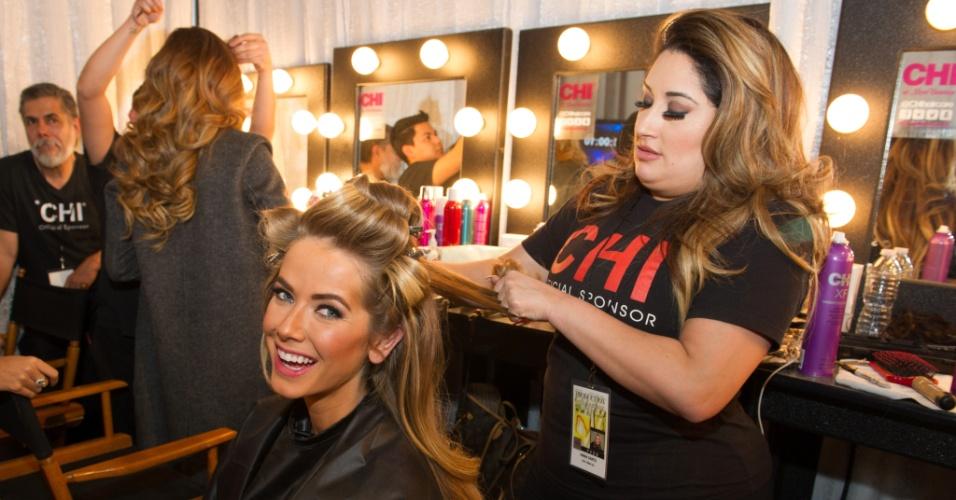 Olivia Jordan, Miss EUA, se prepara para a grande final do Miss Universo 2015 em Las Vegas