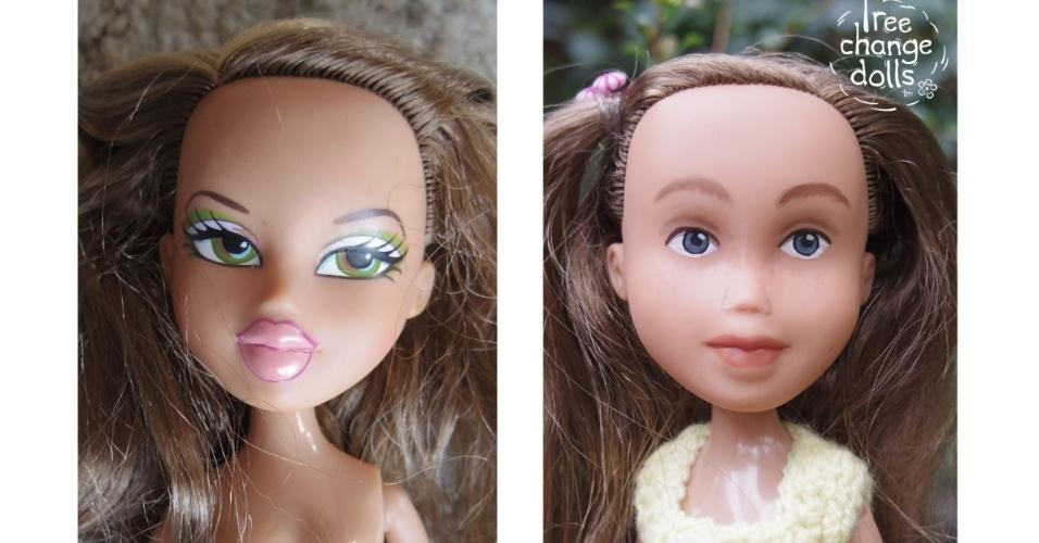 11.fev.2016 - Bonecas da artesã australiana Sonia Singh antes (à esquerda) e depois da transformação que ela faz com os brinquedos, para que fiquem mais reais e parecidos com crianças e mulheres
