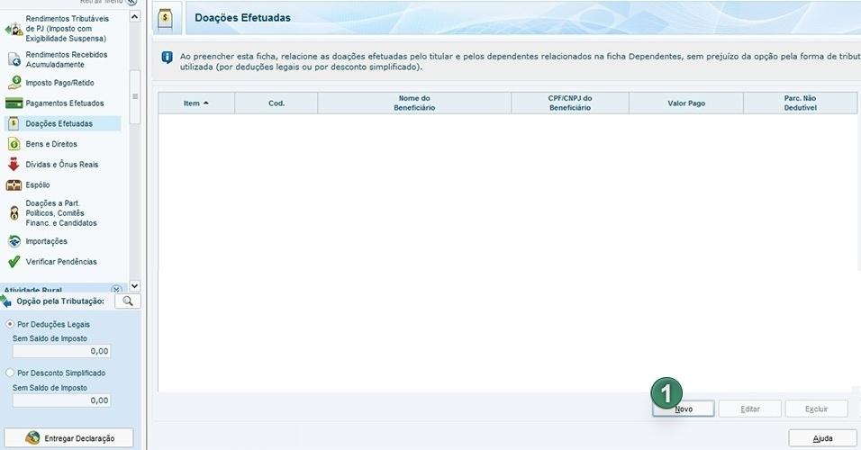 """Essa ficha serve para o contribuinte declarar doações. Clique em """"Novo"""" (1) para preencher os dados"""