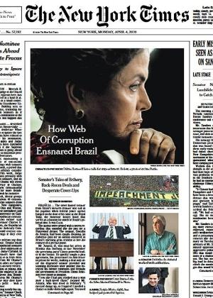 Uma das edições do New York Times que detalha a crise política do Brasil