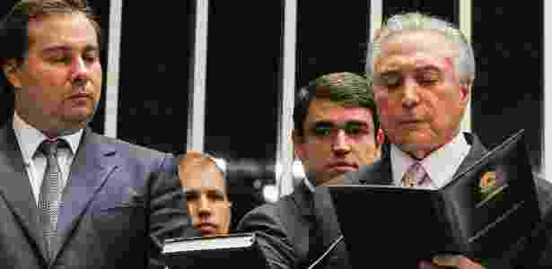 31.ago.2016 - Michel Temer faz juramento durante sua posse como presidente da República no Senado Federal, após afastamento definitivo de Dilma Rousseff - Beto Barata/PR - Beto Barata/PR