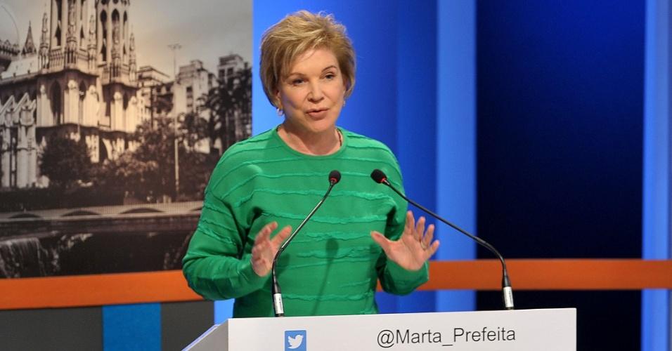 18.set.2016 - Marta Suplicy (PMDB) participa de debate com candidatos a prefeito em São Paulo promovido pela TV Gazeta, Estadão e Twitter