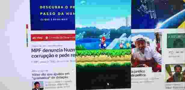 É possível jogar Super Mario Run, mas não em tela cheia - seu toque é substituído pelo clique do mouse - Gabriel Francisco Ribeiro/UOL - Gabriel Francisco Ribeiro/UOL