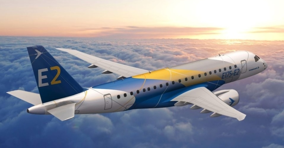 Avião modelo E175-E2, da Embraer