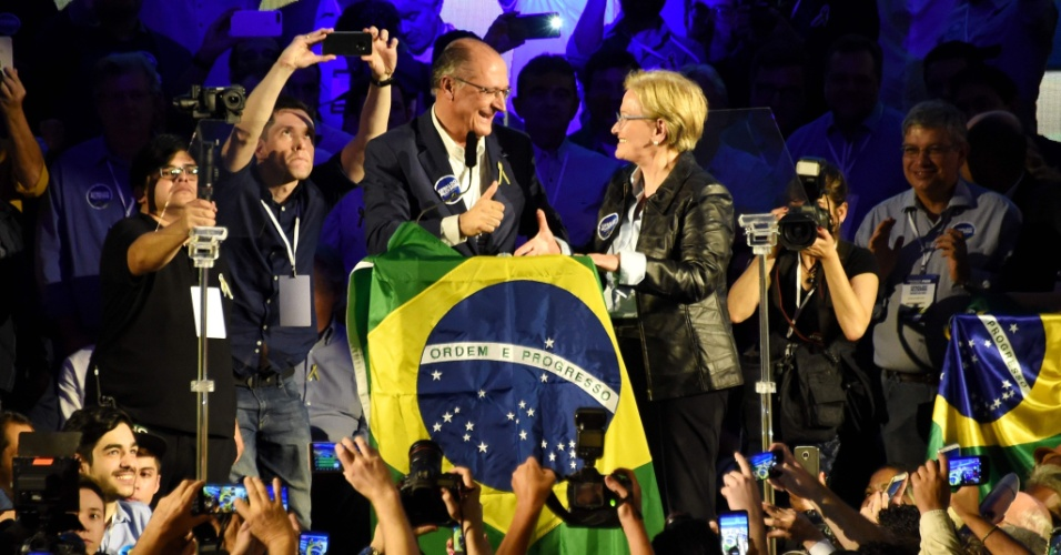 4.ago.2018 - Geraldo Alckmin e Ana Amélia são oficializados como candidatos a presidente e vice durante convenção nacional do PSDB
