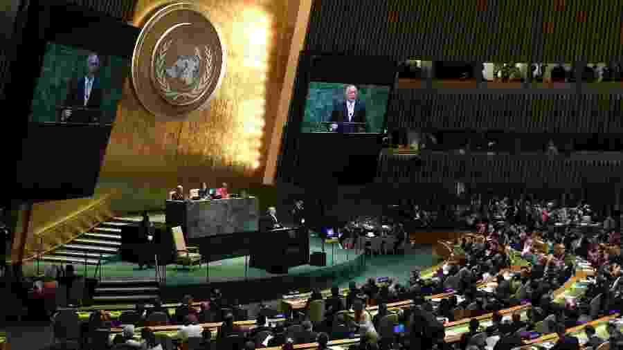 Michel Temer (MDB) discursa na abertura da Assembleia-Geral da ONU, em setembro deste ano - Shannon Stapleton/Reuters