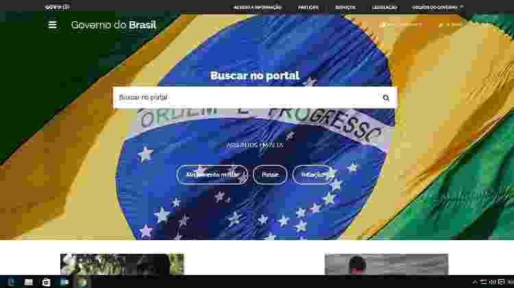 8.jan.2019 - Site do governo federal (brasil.gov.br) que exibia foto de militantes favoráveis ao presidente Jair Bolsonaro agora tem como imagem de fundo a foto de uma bandeira do Brasil - Reprodução/brasil.gov.br - Reprodução/brasil.gov.br