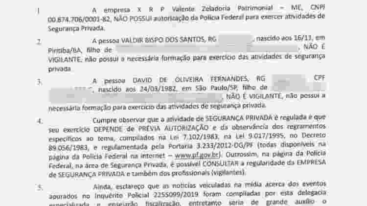 Ofício da PF aponta que empresa de seguranças acusados de tortura contra jovem atua de forma clandestina - Reprodução/PF