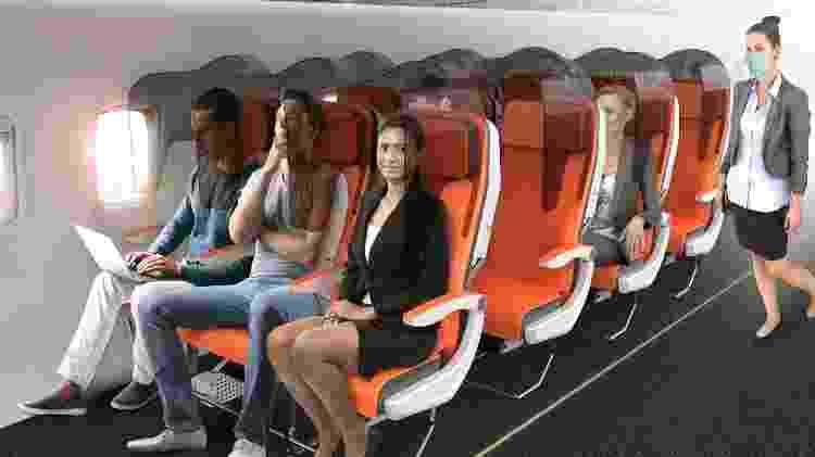 Projeto cria barreira de proteção entre assentos do avião - Divulgação - Divulgação