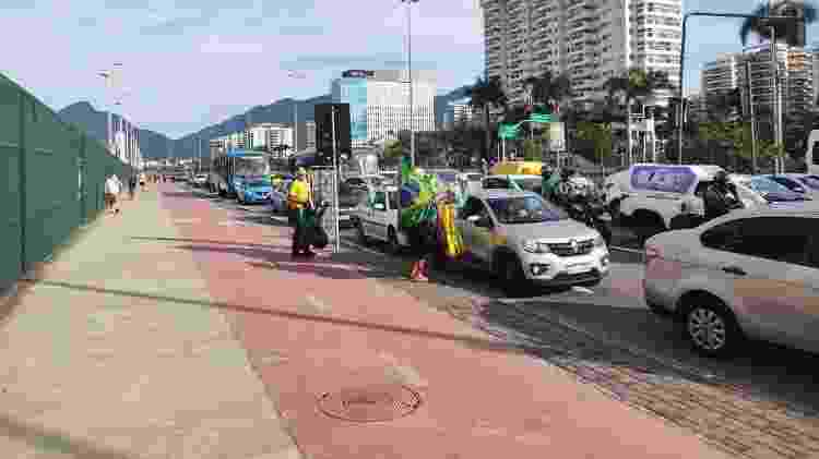 Congestionamento da região do Parque Olímpico, no Rio de Janeiro, antes de passeio de moto com presença de Jair Bolsonaro - Igor Mello/UOL - Igor Mello/UOL