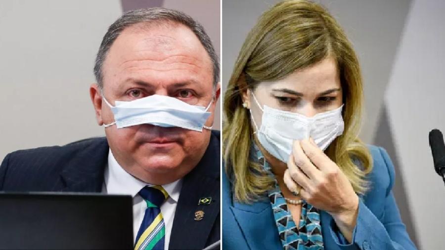Eduardo Pazuello e Mayra Pinheiro durante depoimento à CPI - Sergio Lima/AFP; Jefferson Rudy/Agência Senado