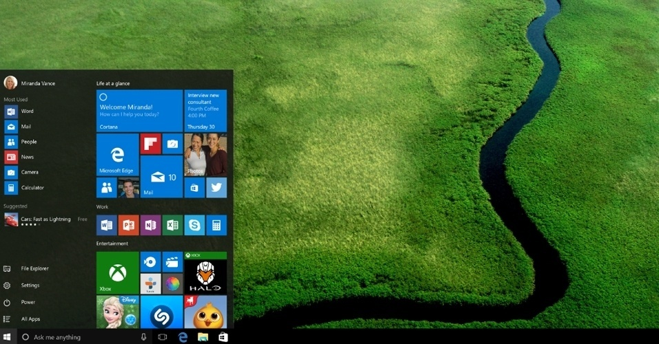 A Microsoft lança o Windows 10, que, apesar de ressuscitar recursos de versões anteriores --como o menu inicial--, ganha novas funcionalidades que dão ao sistema operacional uma cara mais moderna e possibilitam a personalização das atividades; veja a seguir algumas das novidades