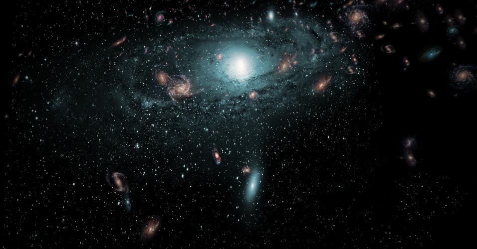 7.jun.2016 - Ilustração mostra galáxias encontradas na 'zona de evasão
