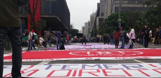 4.set.2016 - Manifestantes na avenida Paulista para protesto contra o atual presidente Michel Temer (PMDB)